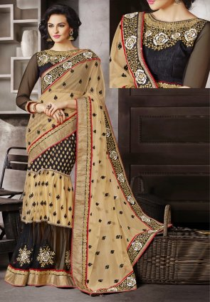 Diffusion Classy Black And Cream Embroidered Saree