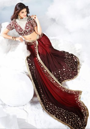 Diffusion Classy Deep Burgundy And Maroon Embroidered Saree