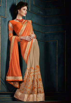 Diffusion Classy Deep Deep Orange And Beige Embroidered Saree