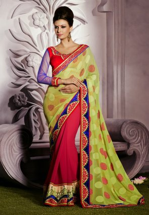 Diffusion Classy Deep Fuchsia  And  Olive Green Embroidered Saree