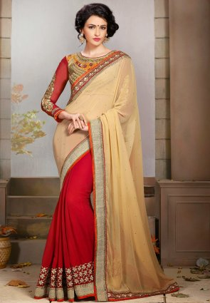 Diffusion Classy Deep Red And Beige Embroidered Saree