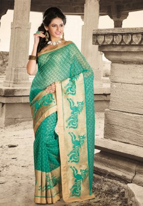 Diffusion Classy Jade Green Embroidered Saree
