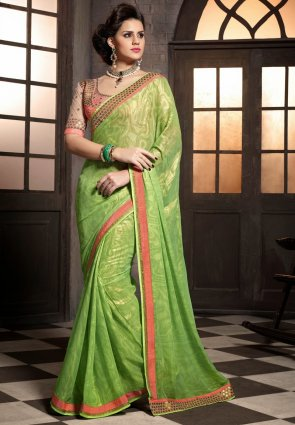 Diffusion Classy Lime Green Embroidered Saree