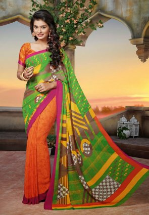 Diffusion Classy Lime Green And Orange Embroidered Saree