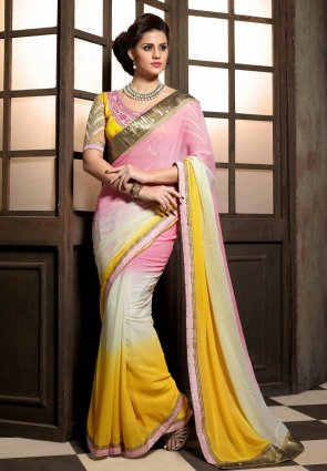 Diffusion Classy Off White  And  Yellow Embroidered Saree