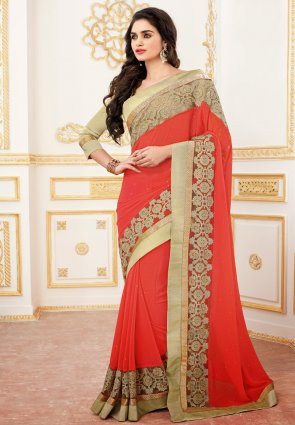 Diffusion Classy Red Embroidered Saree