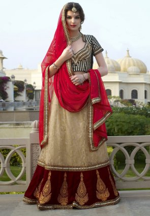 Diffusion Contemporary Beige And Maroon Lehenga Choli