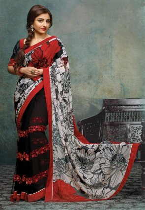 Diffusion Contemporary Black And Off White Embroidered Saree