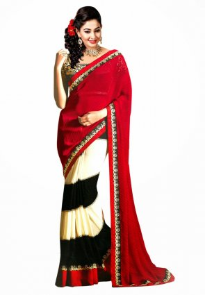 Diffusion Contemporary Black And Red Embroidered Saree
