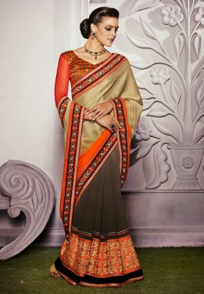 Diffusion Contemporary Brown  And  Gold Color Embroidered Saree