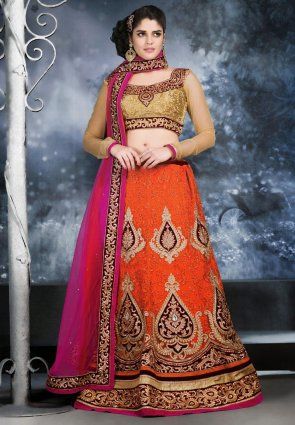 Diffusion Contemporary Deep Deep Orange Lehenga Choli