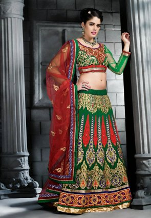 Diffusion Contemporary Green Lehenga Choli