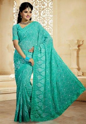 Diffusion Contemporary Greenish Blue Embroidered Saree