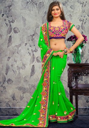 Diffusion Contemporary Lime Green Embroidered Saree