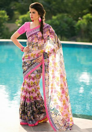 Diffusion Contemporary Off White And Rose Pink Printed Saree