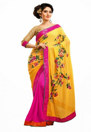 Diffusion Contemporary Pink And Yellow Embroidered Saree
