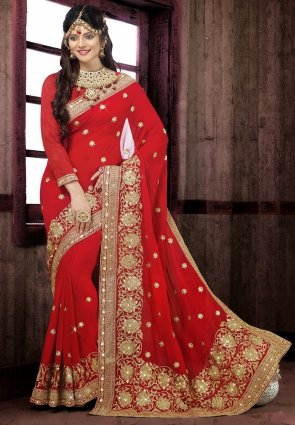Diffusion Contemporary Red Embroidered Saree