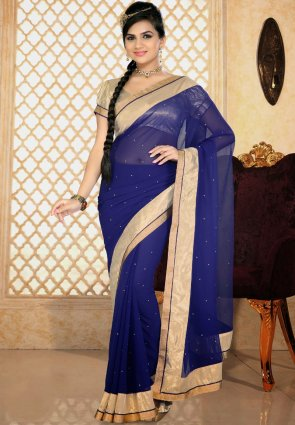 Diffusion Contemporary Royal Blue Printed Saree