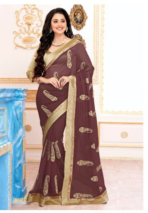 Diffusion Contemporary Saddle Brown Embroidered Saree