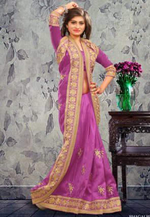 Diffusion Contemporary Violet Embroidered Saree