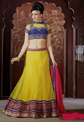 Diffusion Contemporary Yellow Lehenga Choli