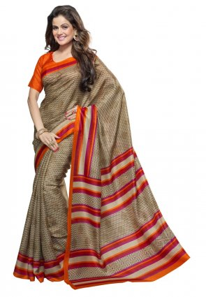 Diffusion Dazzling Diva Beige Printed Saree