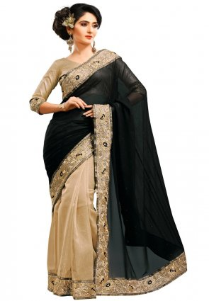 Diffusion Dazzling Diva Beige And Black Embroidered Saree