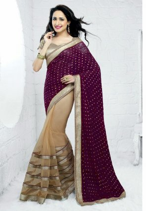 Diffusion Dazzling Diva Beige And Violet Embroidered Saree