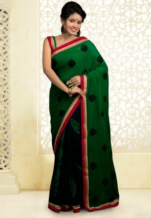 Diffusion Dazzling Diva Black And Green Embroidered Saree