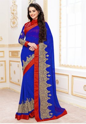 Diffusion Dazzling Diva Blue Embroidered Saree