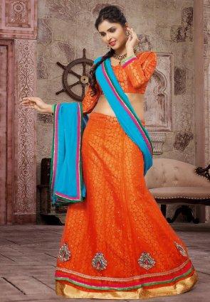 Diffusion Dazzling Diva Deep Orange Lehenga Choli