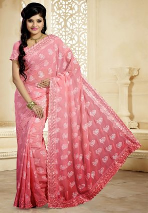 Diffusion Dazzling Diva Deep Rose Pink Embroidered Saree