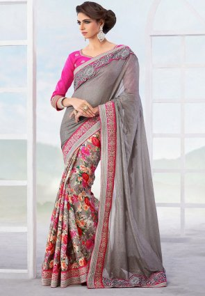 Diffusion Dazzling Diva Gray Embroidered Saree