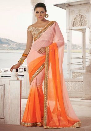 Diffusion Dazzling Diva Orange  And  Rose Pink Embroidered Saree