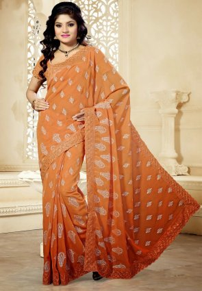 Diffusion Dazzling Diva Peach Puff Embroidered Saree