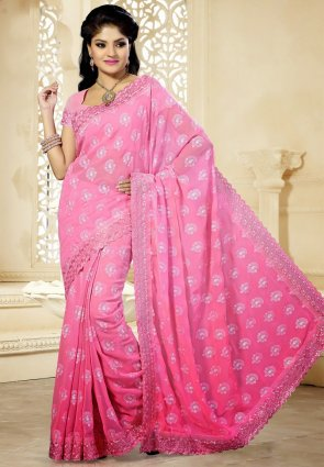 Diffusion Dazzling Diva Pink Embroidered Saree