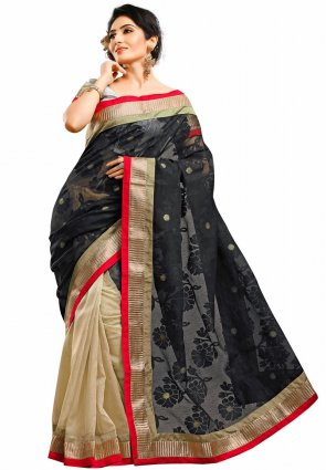Diffusion Divine Beige And Black Embroidered Saree