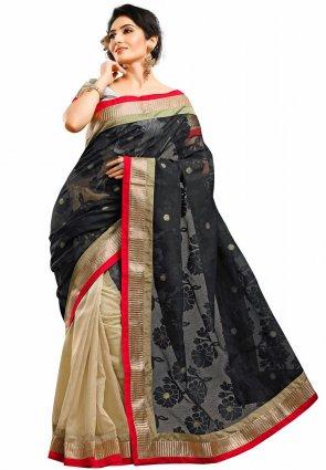 Diffusion Divine Beige And Black Embroidered Saree