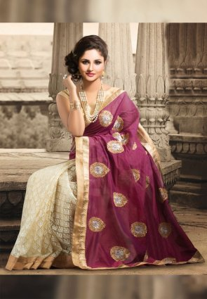Diffusion Divine Beige And Magenta Embroidered Saree
