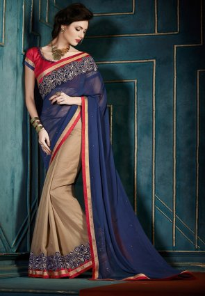 Diffusion Divine Beige And Royal Blue Embroidered Saree