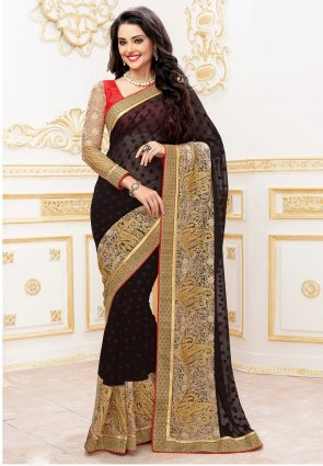 Diffusion Divine Black Embroidered Saree