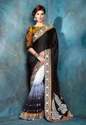 Diffusion Divine Black And Off White Embroidered Saree