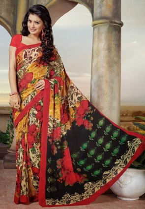 Diffusion Divine Black And Orange Embroidered Saree