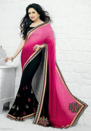 Diffusion Divine Black And Pink Embroidered Saree