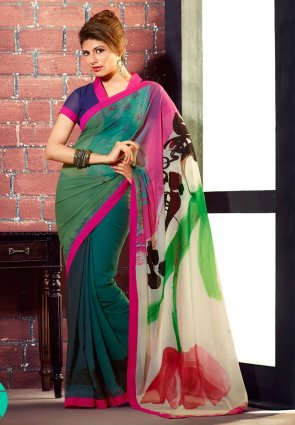 Diffusion Divine Bottle Green And Off White Printed Saree