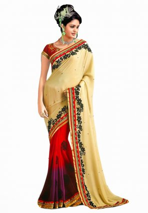 Diffusion Divine Buttercream And Violet Embroidered Saree