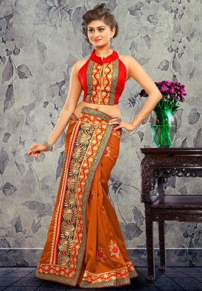 Diffusion Divine Deep Deep Orange Embroidered Saree