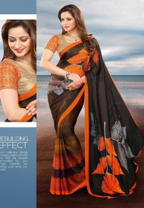 Diffusion Divine Deep Gray And Orange Embroidered Saree