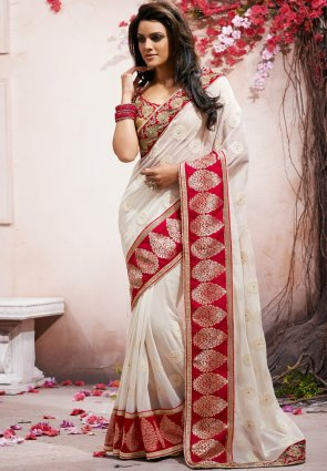 Diffusion Divine Off White Embroidered Saree