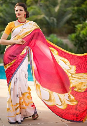 Diffusion Divine Off White And Red Printed Saree